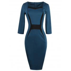 Contrast Insert Slit Bodycon Dress With Sleeves - Turquoise - L