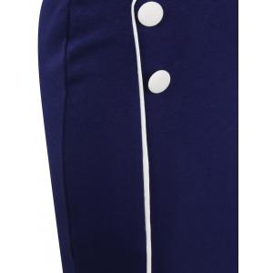 Button Design Fitted Pencil Work Dress -