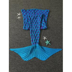 Broken Hole Knitted Mermaid Blanket For Kids - Blue Green
