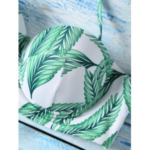 Leaf Printed High Waist Halter Top Bikini Swimwear - GREEN XL