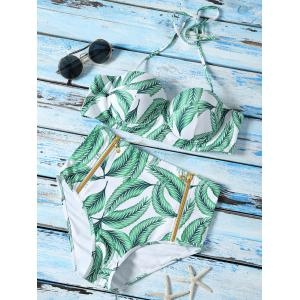 Leaf Printed High Waist Halter Top Bikini Swimwear - Green - Xl