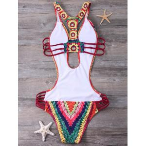 Printed Padded High Cut Monokini One Piece Swimsuit - RED L
