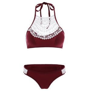 Lace Spliced Cut Out Halter Top Bikini - RED S
