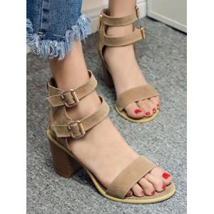 Simple Double Buckles and Chunky Heel Design Sandals For Women - APRICOT 39
