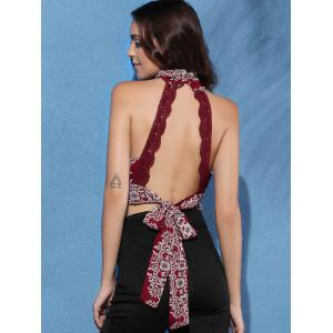 Cut Out Tie Back Sleeveless Crop Top - WINE RED XL