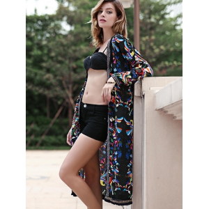 Fringe Floral Long Cardigan Kimono Blouse - BLACK ONE SIZE(FIT SIZE XS TO M)