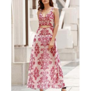 Plunge Floral Maxi Backless Swing Dress - Red With White - M
