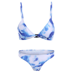 Tie-Dyed Spaghetti Strap Bathing Suit - BLUE XL