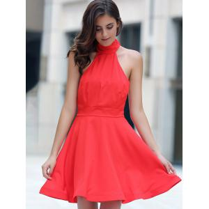 Halter Backless Party Skater Dress -