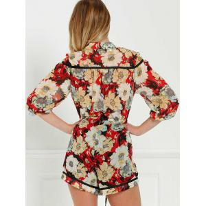 V Neck Tie Front Floral Romper with Sleeves - COLORMIX M