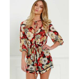 V Neck Tie Front Floral Romper with Sleeves -