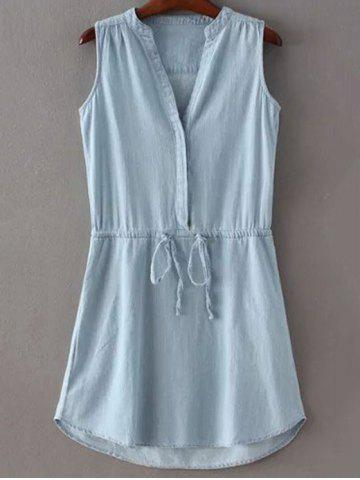 Outfits Fashion Stand Collar Sleeveless Pockets Drawstring Dress For Women