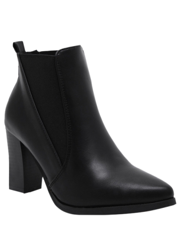 Fashion Chunky Heel Pointed Toe Elastic Ankle Boots