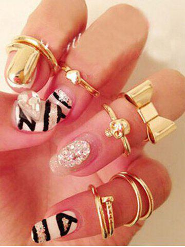 Unique Chic Bow Skull Embellished Golden Rings