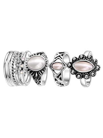 Affordable Artificial Opal Oval Ring Set SILVER 7