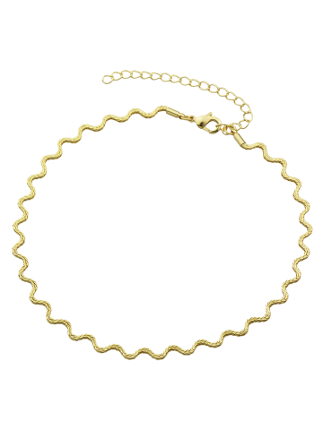 Store Wavy Alloy Choker Necklace GOLDEN