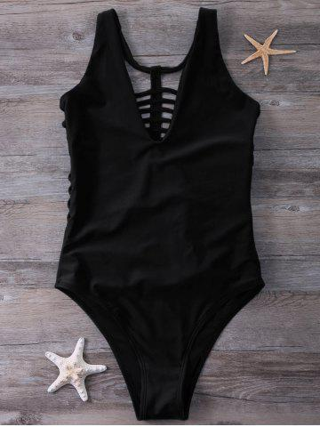 Trendy Plunge Strappy One-Piece Swimwear BLACK L