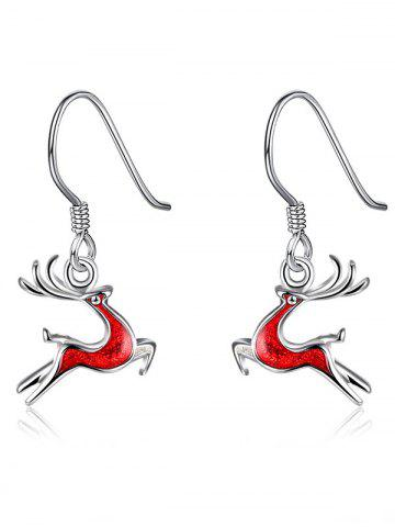 Online Enamel Christmas Elk Silver Plated Earrings RED