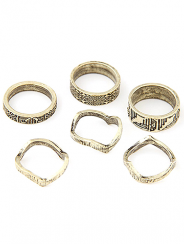 Hot Chic Tribal Style Carve Golden Rings