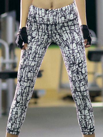 New Sports High-Waisted Printed Slimming Women's Gym Cropped Pants - XL WHITE Mobile
