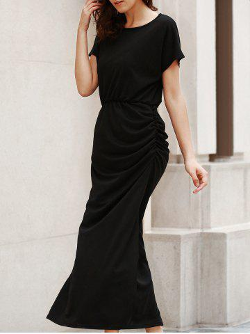 Chic Round Neck Short Sleeve Open Back Ruched Maxi Dress - S BLACK Mobile