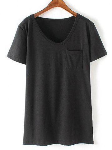 Store Casual Round Neck Short Sleeve Patchwork Pocket Women's T-Shirt