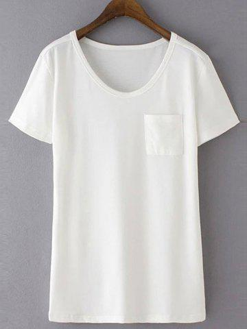Casual Round Neck Short Sleeve Patchwork Pocket Women's T-Shirt - White - S