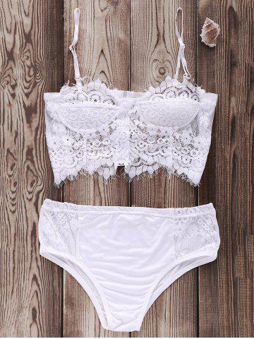 Cheap Cami Lace Zip Up Sheer Bikini Set