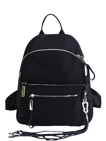 Affordable Zippers Splicing Tassels Backpack