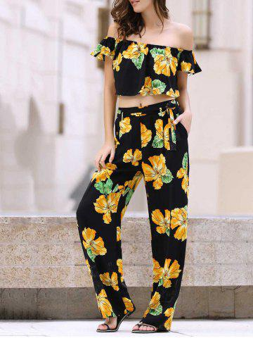 Fashion Off The Shoulder Ruffle Floral Crop Top and Printed Palazzo Pants Twinset