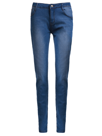 Fashion High-Waisted Zipper Embellished Slimming Pencil Jeans For Women BLUE M