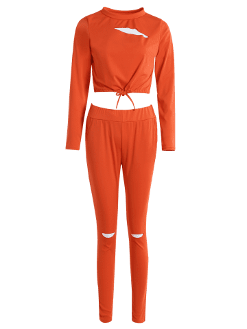 Discount Cropped Sweatshirt and High Waisted Ripped Pants - L ORANGE RED Mobile