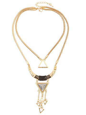 Fashion Triangle Hollow Pendant Necklace GOLDEN