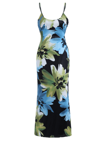 Outfit Back Criss-Cross Floral Print Beach Cami Hawaiian Maxi Dress - XL GREEN Mobile