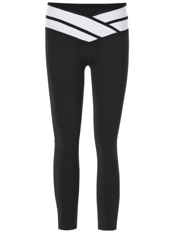Affordable Sporty Color Block Slimming Capri Pants For Women - L BLACK Mobile