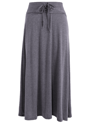 Discount Lace-Up High Waist Maxi Skirt - ONE SIZE DEEP GRAY Mobile