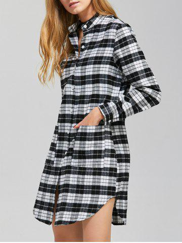 Hot Casual Long Sleeve Checked Shirt Dress - L BLACK Mobile