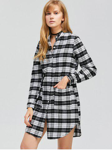 Discount Casual Long Sleeve Checked Shirt Dress - L BLACK Mobile