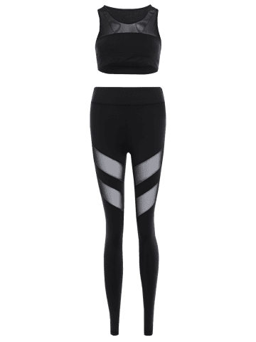 Affordable Mesh Panel Tank Top and Stretch Pants Yoga Suit - L BLACK Mobile