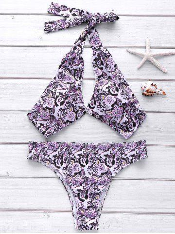 Trendy Halter Full Floral Bikini Set