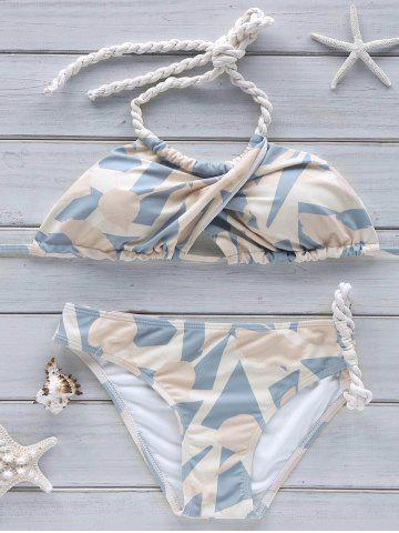 Outfits Crossover Halter Printed Bikini