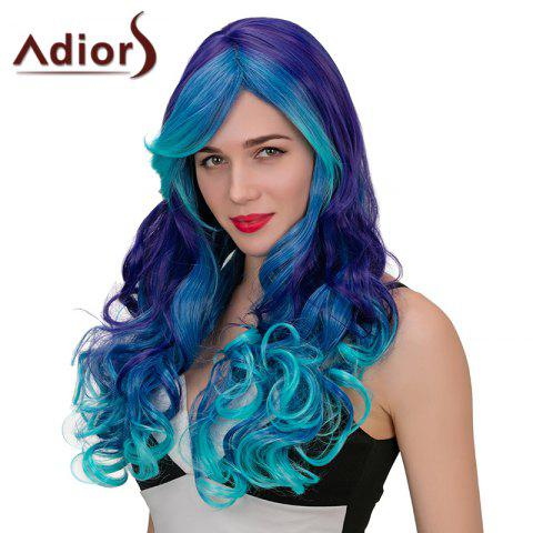 New Adiors Hair Long Side Part Wavy Synthetic Cosplay Wig - BLUE + PURPLE  Mobile