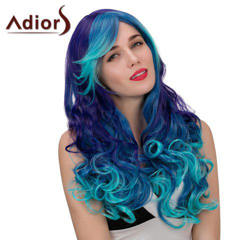 Trendy Adiors Hair Long Side Part Wavy Synthetic Cosplay Wig - BLUE + PURPLE  Mobile