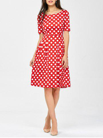 Fancy Polka Dot A Line Knee Length Dress RED S