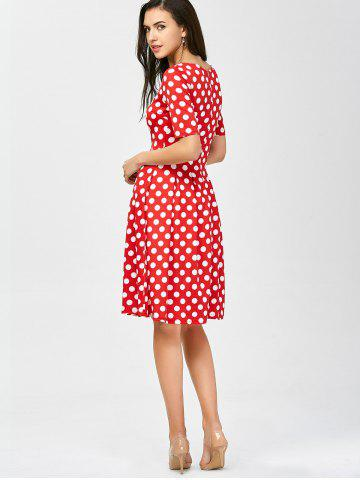 Outfits Polka Dot A Line Knee Length Dress - M RED Mobile