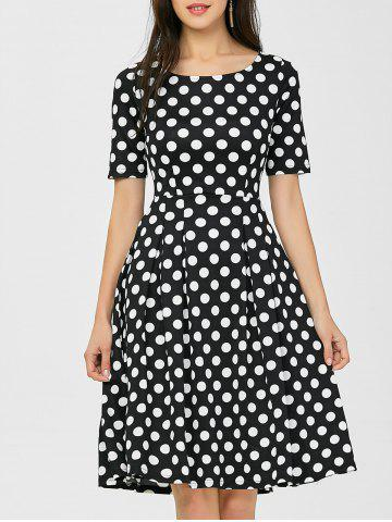 Shops Polka Dot Formal A Line Knee Length Dress BLACK 2XL