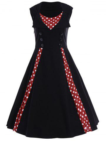 Discount Polka Dot Sleeveless A Line Midi Dress - XL BLACK Mobile