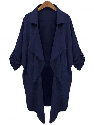 Discount Lapel Neck Long Sleeve Solid Color Trench Coat CADETBLUE S