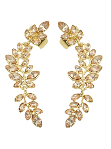 Hot Faux Crystal Leaf Shape Ear Cuffs GOLDEN
