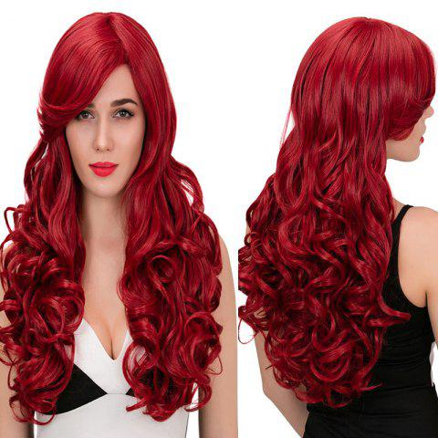 Chic Adiors Ultra Long Side Parting Wavy Synthetic Wig - WINE RED  Mobile